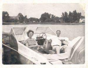 Aunt Pete & Ervin & Boat 521 Riverside Drive Portsmouth VA 1970