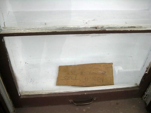 """Les Spangler - """"I no longer sell honey. Retired"""" sign"""