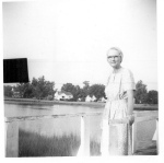 Mom on dock in front of 521 Riverside Drive Portsmouth, VA