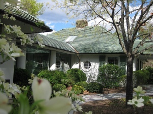 A corner of Reynolda House in Spring